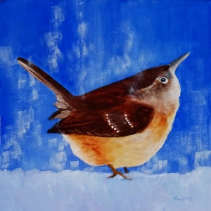 Snowy Carolina Wren - 2019 - 8 x 8 - panel